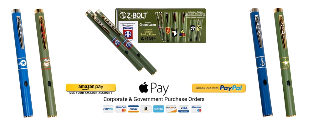 Military Pride Green Laser Pointers for Gifts, Presentations, Briefings