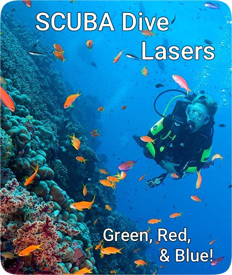 Green, Blue, Red Scuba DIVE Laser Pointers